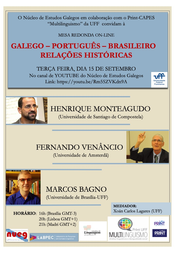 Mesa redonda on-line GALEGO – PORTUGUÊS – BRASILEIRO. RELAÇÕES HISTÓRICAS