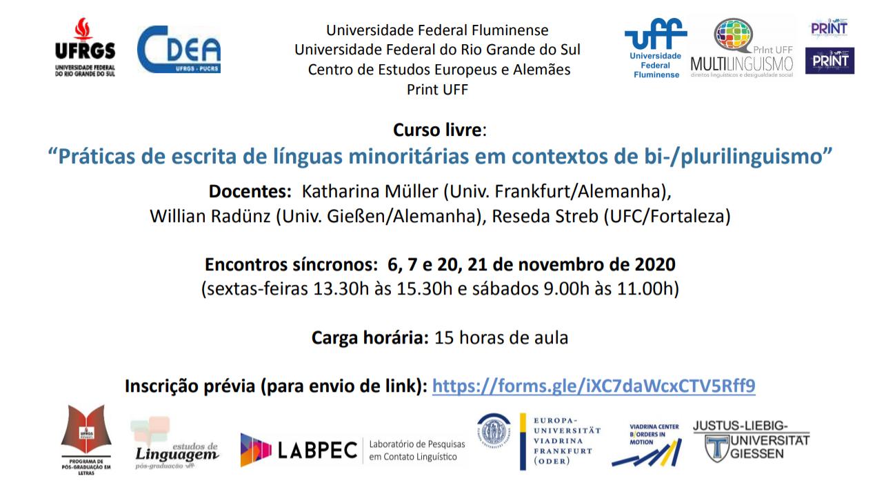 Curso Livre: Práticas de escrita de línguas minoritárias em contextos de bi-/plurilinguismo